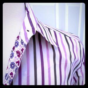 Ted Baker Men's dress shirt- Purple Stripe